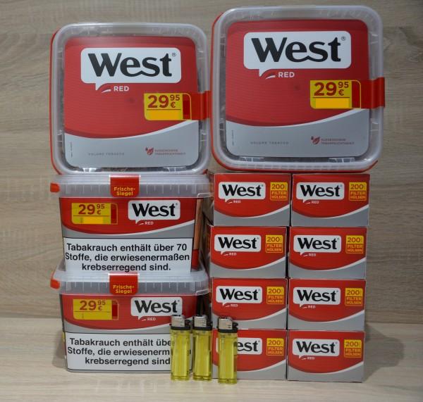 4x West Red 170g Volumentabak + 1.600 Filterhülsen + 3 Feuerzeug