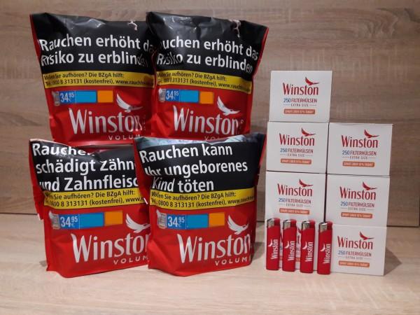 4x Winston Zip Bag 185g Volumentabak + 1750 EXTRA Hülsen + 4 Feuerzeuge