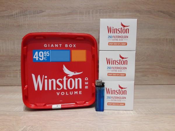 1x Winston Red Volumentabak Giant 260g + 750 Extra Filterhülsen + 1 Feuerzeug