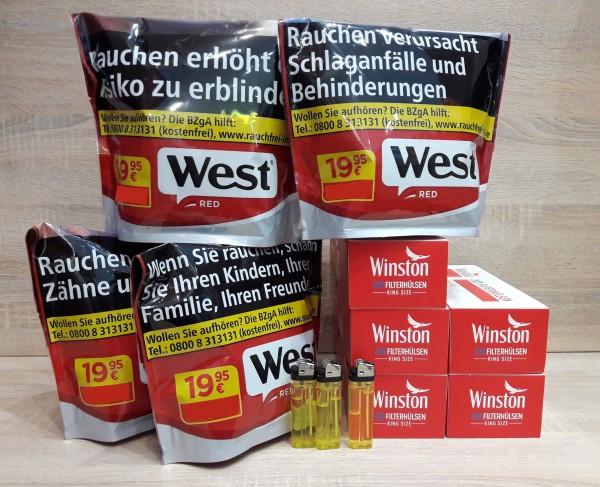 4x West Red 96g Volumentabak + 1.000 Filterhülsen + 3 Feuerzeuge