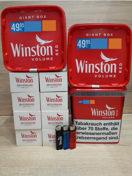 3x Winston Red Giant 260g + 1600 Filterhülsen + 3 Feuerzeuge