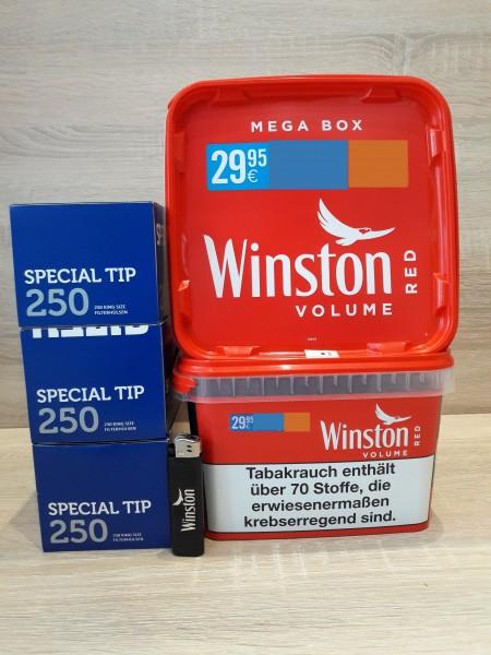 2x Winston Mega 170g + 750 Special Tip Hülsen Blau + Feuerzeug