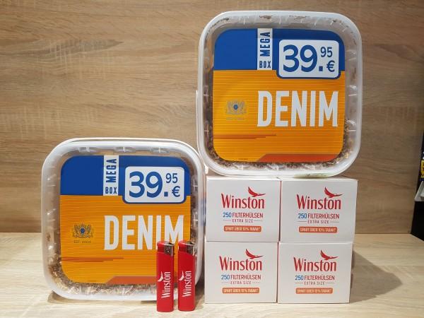 2x Denim 290g Volumentabak + 1000 Winston Extra Hülsen + 2 Feuerzeuge