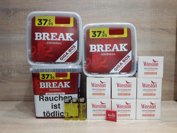 3x BREAK Original Giga + 1750 EXTRA Hülsen + Feuerzeuge + Zubehör