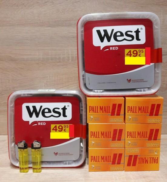 2 x West Red GIGA 280g Volumentabak + 1200 Pall Mall + 2 Feuerzeuge