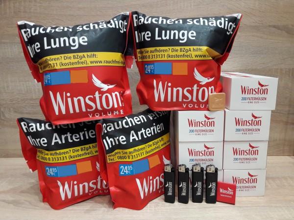 4x Winston Red Volumentabak 125g Zip Bag + 1400 Winston Hülsen + Zubehör