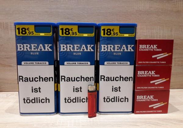 3x Break Blue Volumentabak 115g + 600 Filterhülsen + Feuerzeug