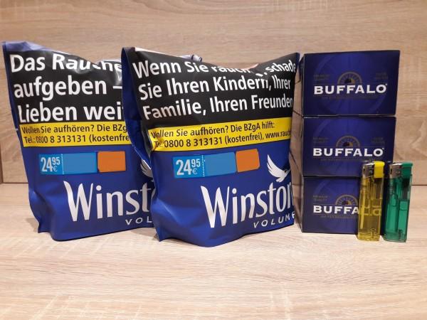 2x Winston Blue Zip Bag Volumentabak 135g + 600 Buffalo Hülsen + 2 Feuerzeuge
