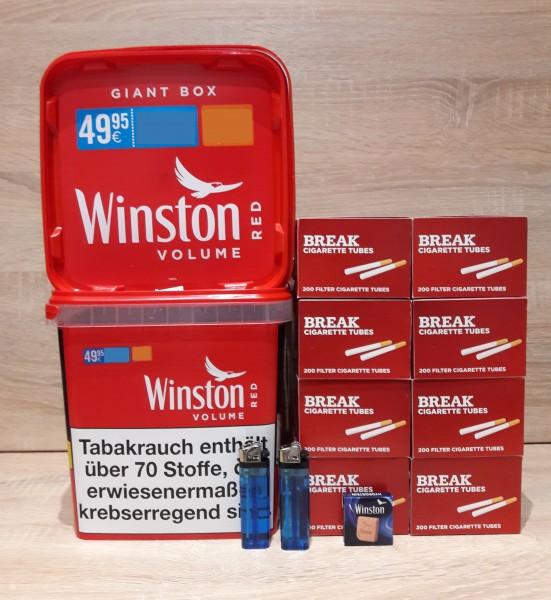 2x Winston Red Volumentabak Giga Box 260g + 1600 BREAK Hülsen+ Zubehör
