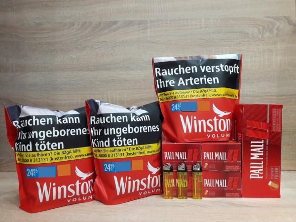 3x Winston Red Volumentabak 125g + 1.000 Pall Mall XTRA Hülsen + Feuerzeuge