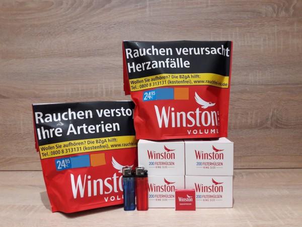 2x Winston Red Volumentabak 135g Zip Bag + 800 Winston Hülsen + Zubehör