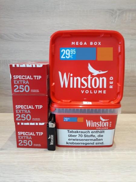 2x Winston Mega 170g + 750 Special Tip Hülsen + Feuerzeug