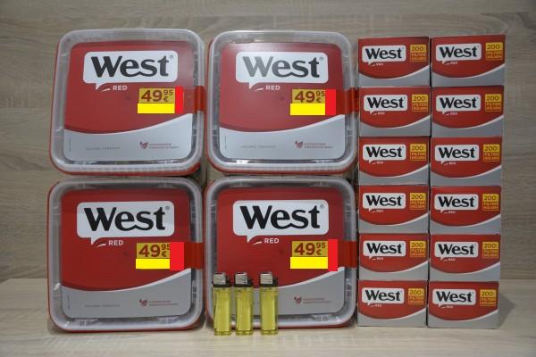 4x West Red GIGA 260g Volumentabak + 2.400 Filterhülsen + 3 Feuerzeuge