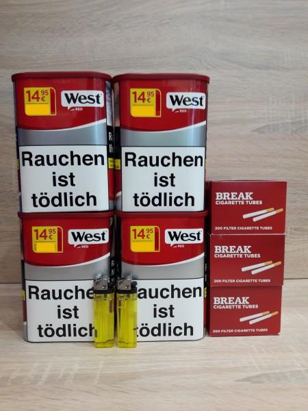4x West Red 65g Volumentabak + 600 Filterhülsen + 2 Feuerzeug