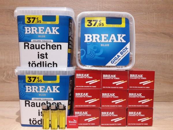 3x Boxen BREAK BLUE Giga 230g + 1800 Filterhülsen + 3 Feuerzeuge + Zubehör