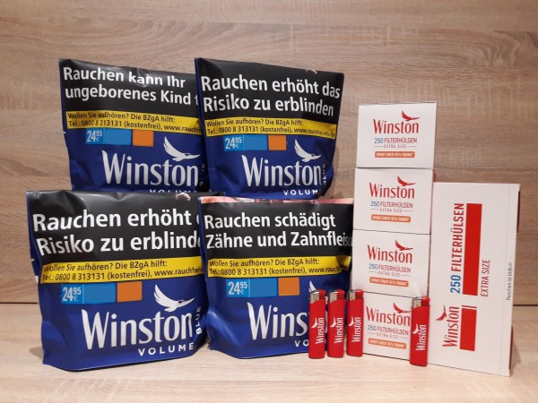 4x Winston Blue Zip Bag Volumentabak 125g + 1250 EXTRA Hülsen + 4 Feuerzeuge