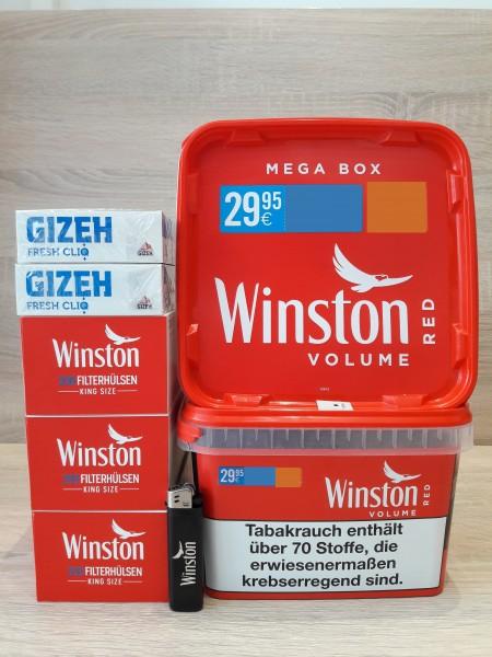 2x Winston Red Mega Box 170g + 600 Hülsen + 200 Fresh Cliq Hülsen + Feuerzeuge
