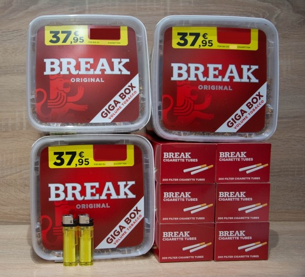 3x BREAK Giga Red 230g + 1200Filterhülsen + 2 Feuerzeuge