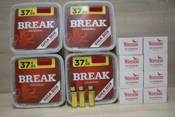 4x BREAK Original Giga 230g + 1600 Filterhülsen + 3 Feuerzeuge