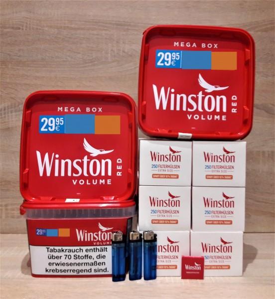 3x Winston Red Mega 170g + 1500 Winston Extra Hülsen + 2 Feuerzeuge + Zubehör