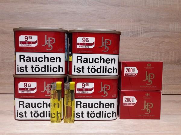 4x JPS Red Volumentabak 42g + 400 Filterhülsen + 2 Feuerzeuge