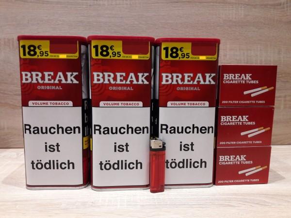 3x Break Original Volumentabak 115g + 600 Filterhülsen + Feuerzeug