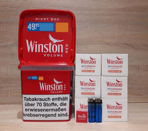 2x Winston Giant + 1500 Extra Filterhülsen + 2 Feuerzeuge + Zubehör
