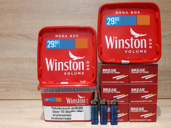 3x Winston Mega 170g + 1200 BREAK Hülsen + 2 Feuerzeuge