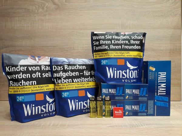 3x Winston Blue Volumentabak 125g + 1.000 Xtra Hülsen + Feuerzeuge + Zubehör
