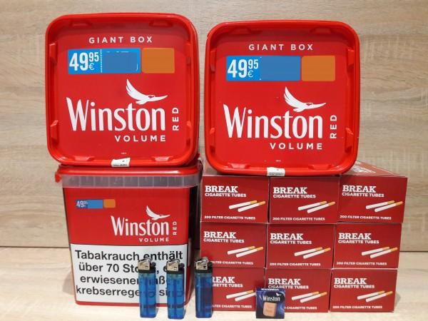 3x Winston Giga 260g + 1800 BREAK Filter Hülsen + 3 Feuerzeuge + Zubehör