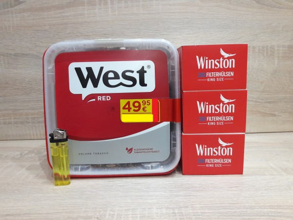 1x West Red GIGA 280g Volumentabak + 600 Filterhülsen + Feuerzeug