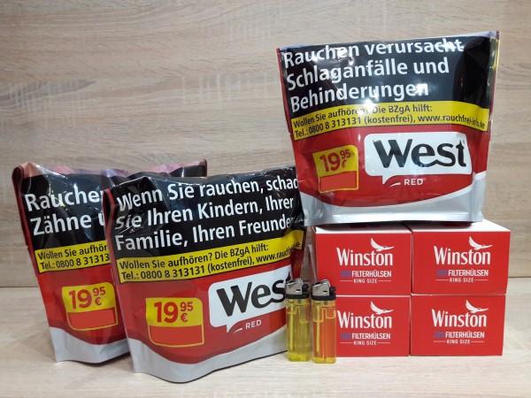 3x West Red 105g Volumentabak + 800 Winston Filterhülsen + 3 Feuerzeuge