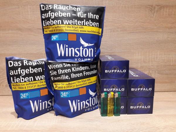 3x Winston Blue Zip Bag 135g Volumentabak + 1.000 Buffalo Hülsen + 3 E-Feuerzeuge