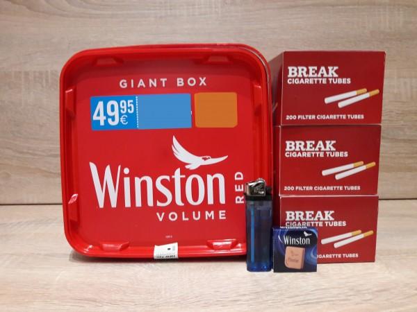 1x Winston Red GIANT Box 260g Volumentabak + 600 Filterhülsen + Zubehör