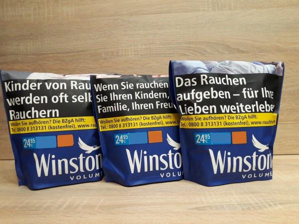 3x Winston Blue Volumentabak Zip Bag´s 135g