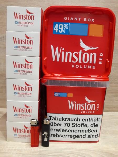 2x Winston Red Giant 260g + 1200 Filterhülsen + 2 Feuerzeuge