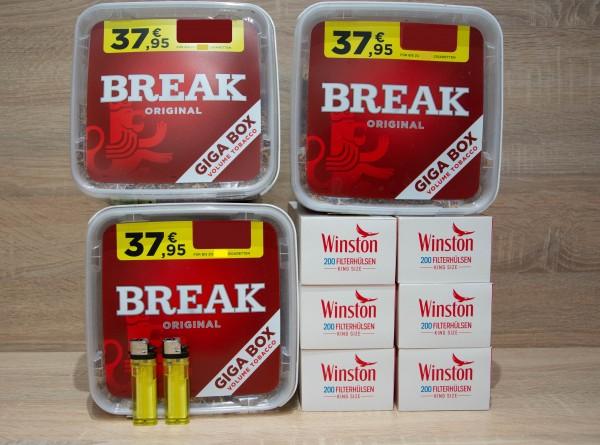 3x BREAK Original Giga 230g + 1200 Filterhülsen + 2 Feuerzeuge
