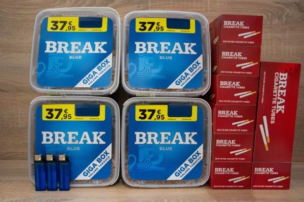 4x Boxen BREAK BLUE GiGA + 1600 Filterhülsen + 3 Feuerzeuge