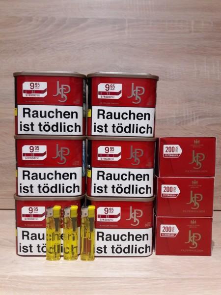 6x JPS Red Volumentabak 42g + 600 Filterhülsen + 3 Feuerzeuge