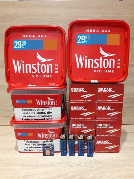 3x Winston Red Volumentabak Mega Box 155g + 1600 Filterhülsen + 4 Feuerzeuge + Zubehör