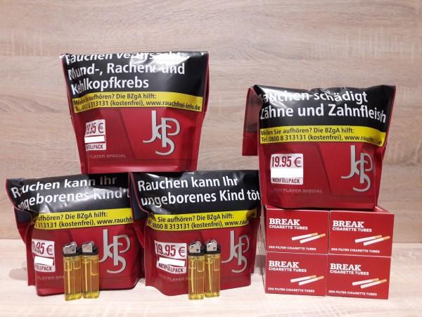 4x JPS Zip Bag 100g Volumentabak + 800 Hülsen + 4 Feuerzeuge