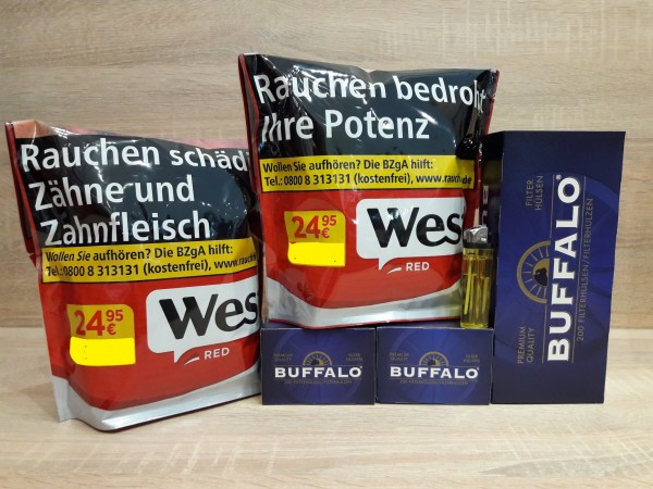 2x West Red 134g Volumentabak + 600 Buffalo Hülsen + Zubehör