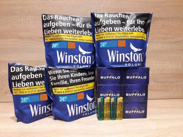 4x Winston Blue Zip Bag Volumentabak 125g + 1200 Buffalo Hülsen + 4 Feuerzeuge