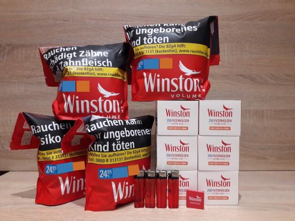 4x Winston Red Volumentabak 125g Zip Bag + 1500 Winston EXTRA Hülsen + Zubehör