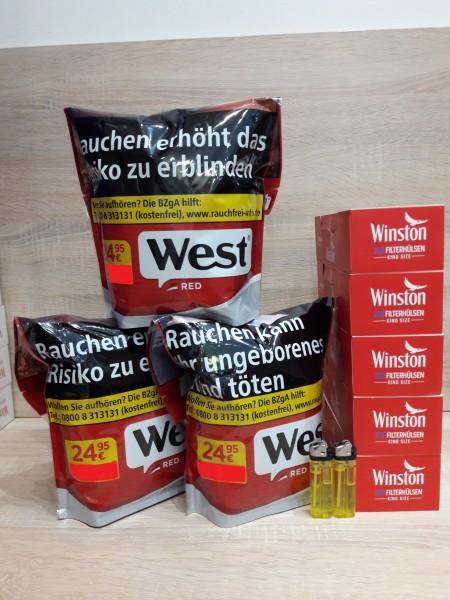 3x West Red 134g Volumentabak + 1000 Winston Hülsen + Zubehör