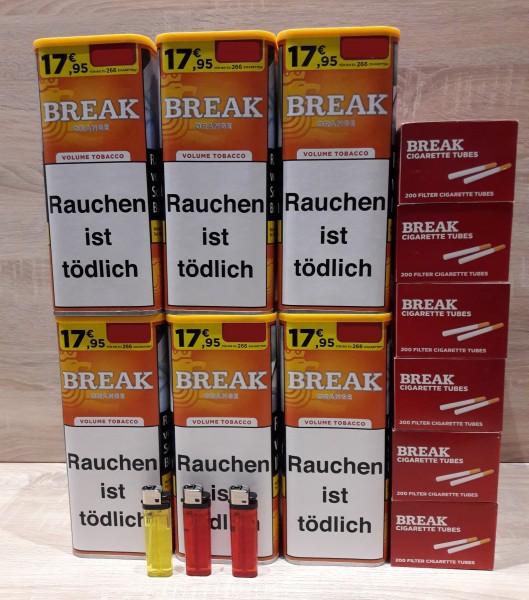 6x BREAK Orange 110g Volumentabak + Feuerzeuge + BREAK Hülsen