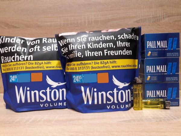 2x Winston Blue Zip Bag Volumentabak 125g + 600 XTRA Hülsen + 2 Feuerzeuge