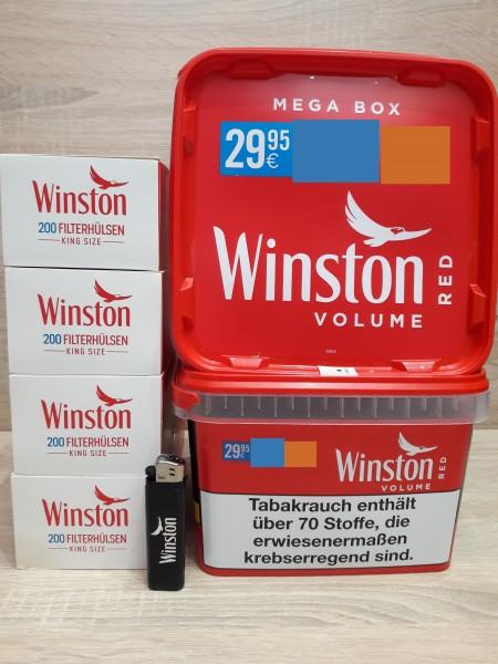 2x Winston Mega 155g + 800 Filter Hülsen + Feuerzeug