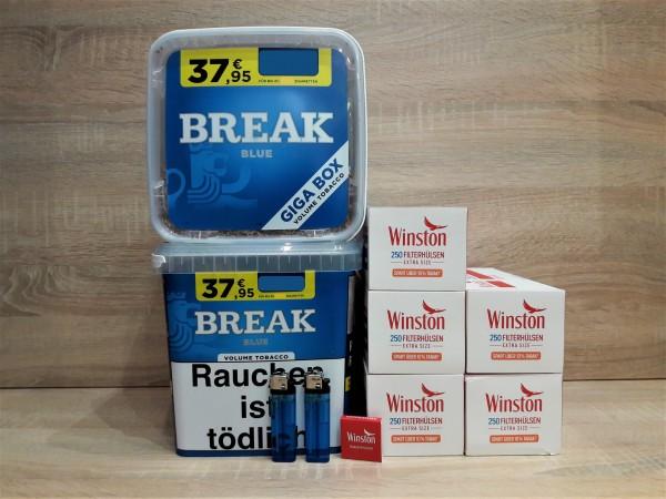 2x BREAK BLUE GIGA Volumentabak + 1250 EXTRA Hülsen + 2 Feuerzeuge + Zubehör
