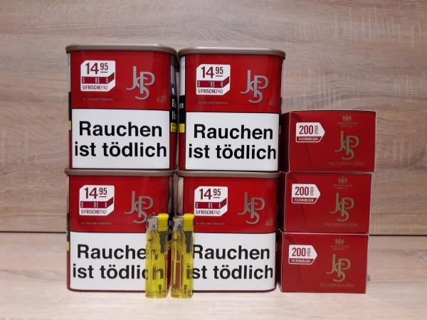 4x JPS Red Volumentabak 56g + 600 Filter Hülsen + 2 Feuerzeuge